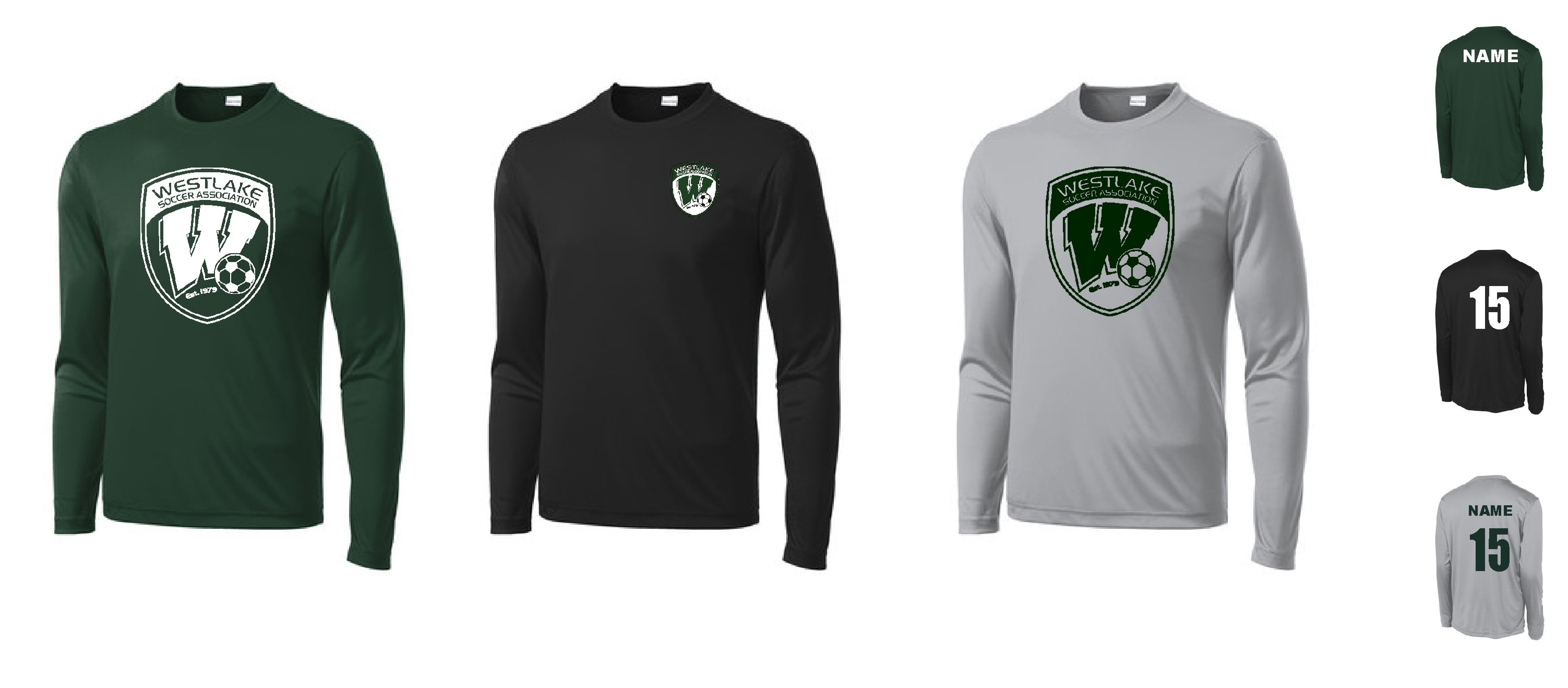 Westlake Sport Tek Long Sleeve Posicharge Competitor Top Font pictured on garment is for color and placement only. westlake sport tek long sleeve posicharge competitor top