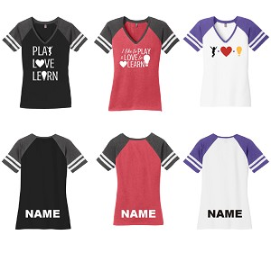 PlayLoveLearn Ladies Game V-Neck Tee
